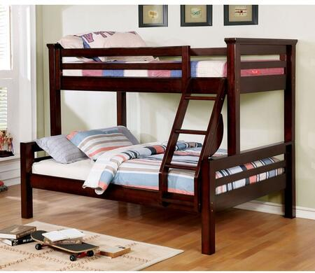 Marcie Collection CM-BK450TF-BED Twin Over Full Size Bunk Bed with Attached Ladder  Top Guard Rails  Slats Top/Bottom  Solid Wood and Wood Veneer Construction