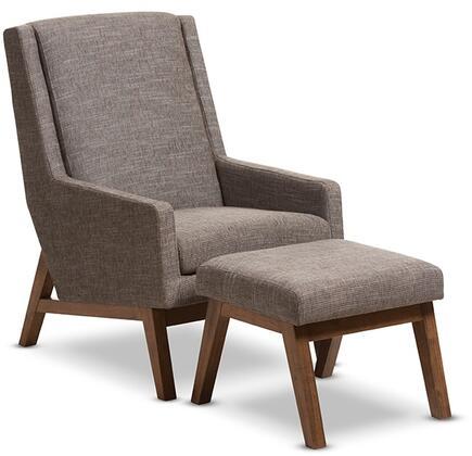BBT5253-GRAVEL SET Baxton Studio Aberdeen Mid-Century Modern Walnut Wood Finishing and Gravel Fabric Upholstered Lounge Chair and Ottoman