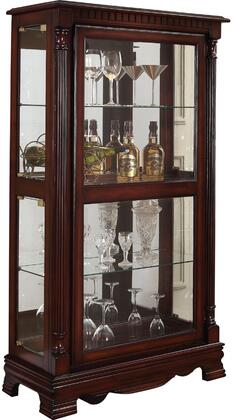 Carrie Collection 90066 33 inch  Curio Cabinet with 5mm Tempered Clear Glass Doors  3mm Back Mirror  Touch Light  Glass Shelves and Wood Construction in Cherry