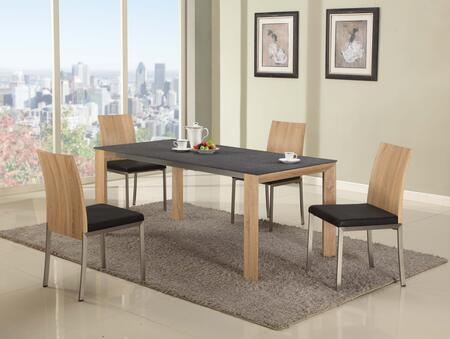 Alison-5pc Alison Dining 5 Piece Set Black Texture Ground  Glass Top Dining Table With 4 Black Wood Panel Back Side