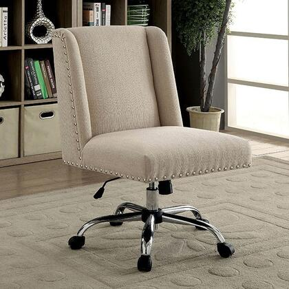 Lisette CM-FC642IV Office Chair with Contemporary Style  Wingback Chair  Sturdy Legs with Casters  Adjustable Height in