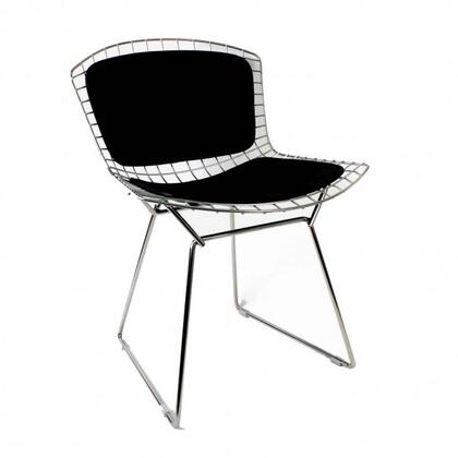 Betty FEC7717SS Side Chair with Stainless Steel Frame  Leather Back and Seat Pads in