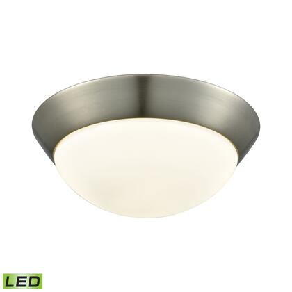 FML7150-10-16M Contours 1 Light LED Flushmount In Satin Nickel And Opal Glass -