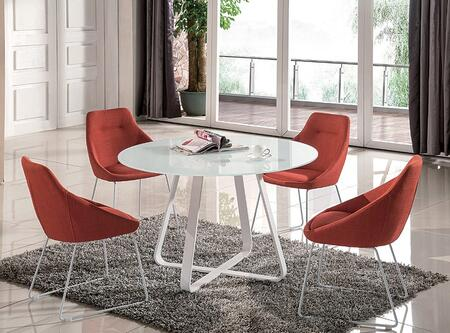 Vera Collection 18227-T4C  4-Piece Dining Room Set with White Table and 4 Pumpkin Color