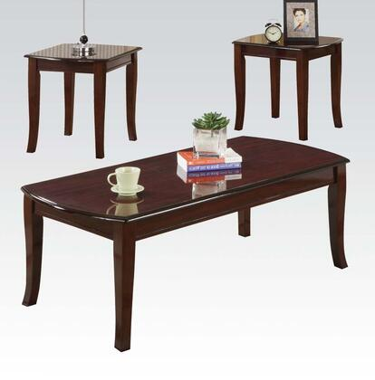 Camarillo Collection 09301 3 PC Living Room Table Set with Coffee Table  2 End Tables  Solid Wood Legs and Medium-Density Fiberboard (MDF) in Cherry