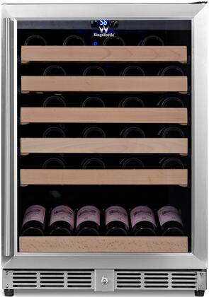 KBU-50W-SS 24 inch  1 Temperature Zone Wine Cooler with 46 Bottle Capacity  Warp Resistant Wood Shelves  Blue LED Lighting and Door Lock: Glass Door with Stainless