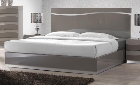 DELHI Series DELHI-BED-KING King Size Bed with Headboard  Footboard  Side Rails and Bed Slats in Gloss Grey
