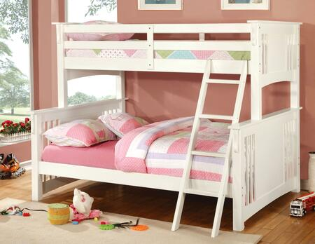 Spring Creek Collection CM-BK602F-WH-BED Twin Over Full Size Bunk Bed with Angled Ladder  10 PC Slats Top/Bottom  Solid Wood and Wood Veneer Construction in