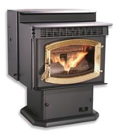 "SP24PD 26"" Wide Blazer 50 000 BTU Pellet Stove in Black with Cowl 60 lbs Hopper Capacity and Door in: Plated"