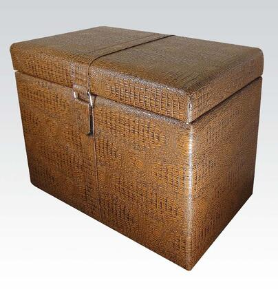 96102 Rai Storage Ottoman with Reptile Pattern  Belt Clasp and PU Leather Upholstery in Brown