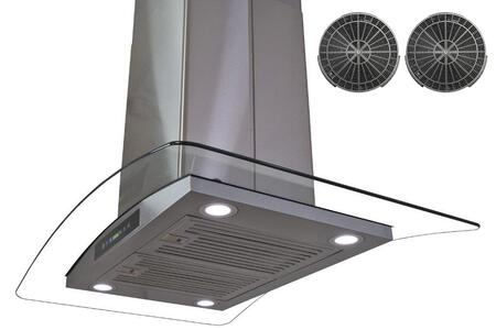 GIRAIS3BR30 30 inch  Island Mount Range Hood with 870 CFM  65 dB  Innovative Touch  LED Lighting  3 Fan Speed  Stainless Steel Baffle Filter  Wireless Control and