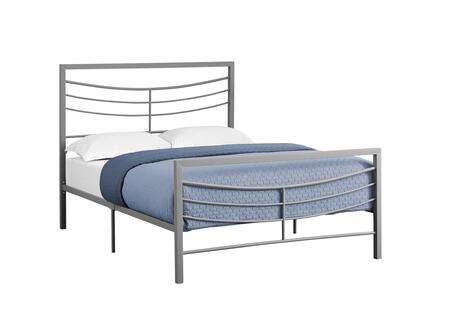 I 2642F Full Bed with Horizontal Headboard & Footboard Slats and Metal Frame in Silver - Frame