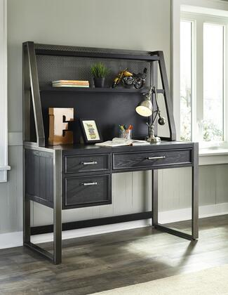 Graphite Collection 8942-BR-K16 2-Piece Set with Desk  Hutch  Silver Metal Bar Hardware  Ash Veneers and Hardwood Solid Construction in