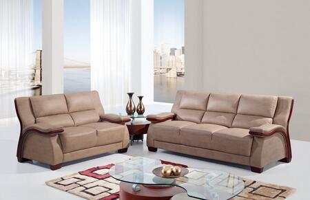 UA1411-SLC Mainstreet Bonded Leather 3 Piece Living Room Set in Beige  Sofa + Loveseat +