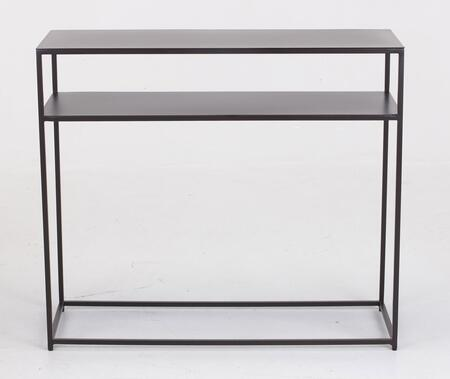 Urban II Collection 206753 34 inch  Console Table with 18 GA Sheet Metal Top  Bottom Shelf  Solid Steel Bar and Powder Coated Finish in Coco