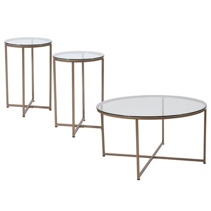 Greenwich Collection NAN-CEK-10-GG 3 Piece Coffee And End Table Set With Glass Tops And Matte Gold