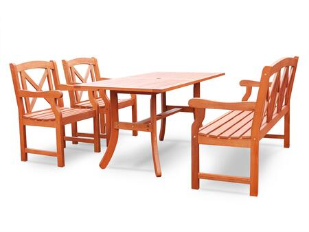 V189SET27 Malibu Eco-friendly 5-piece Outdoor Hardwood Dining Set with Rectangle Table  5-foot Bench and Arm