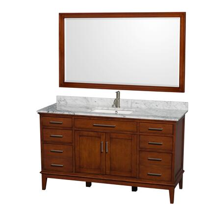 Wcv161660sclcmunsm56 60 In. Single Bathroom Vanity In Light Chestnut  White Carrera Marble Countertop  Undermount Square Sink  And 56 In.