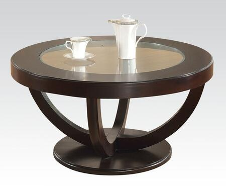 Paxton 80731 40 inch  Round Coffee Table with 12mm Clear Tempered Glass Top  Round Base and Wood Construction in Espresso