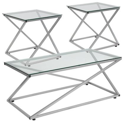 Park Avenue Collection NAN-CEK-24-GG 3 Piece Coffee And End Table Set With Glass Tops And Silver Metal