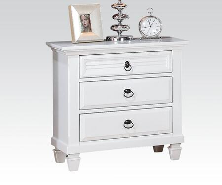 Merivale Collection 22423 28 inch  Nightstand with 3 Drawers  Metal Hardware  Velvet Lined Top Drawer  Poplar and Pine Wood Construction in White