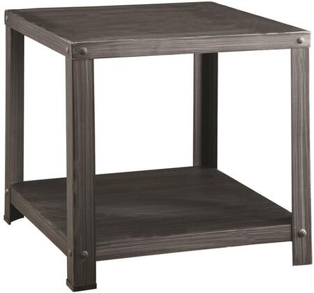 Sarina Collection 80372 22 inch  End Table with Square Shape  Bottom Shelf and Metal Construction in Antique Black