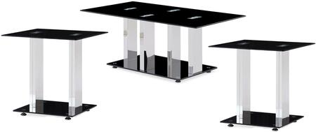 T252C2E 3-Piece Living Room Table Set with Coffee Table and 2 End Tables in Black and