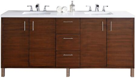 Metropolitan Collection 850-V72-AWT-4GLB 72 inch  American Walnut Double Vanity with Four Soft Close Doors  Three Soft Close Drawers  Chrome Hardware and 4 CM