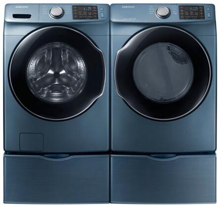 "Azure Front Load Laundry Pair with WF45M5500AZ 27"""" Washer  DVG45M5500Z 27"""" Gas Dryer and 2 WE357A0Z"" 770261"