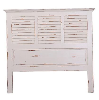 23756 Cottage Shutter Queen Size Headboard with Molding Details in White Distressed