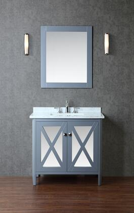 SCSUM36SWG Summit 36 Single-Sink Bathroom Vanity Set with Marble Top and Tapered Legs in