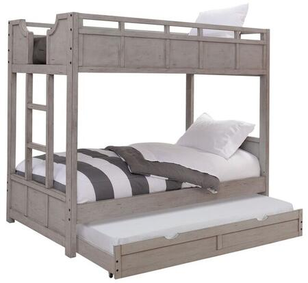 Provo Youth 7300-33BNK-TRN Twin over Twin Bunk Bed and Trundle with Built in Ladder  Distressed Detailing and Veneer Construction in Driftwood