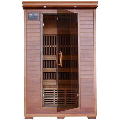 Yukon 2 Person Cedar Infrared Heatwave Sauna with 6 Carbon Heaters  E-Z Touch Control Panel  Oxygen Ionizer  CHROMOTHERAPY System  Recessed Interior Lighting