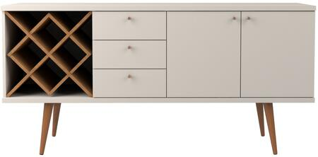 1010452 Utopia 4 Bottle Wine Rack Sideboard Buffet Stand with 3 Drawers and 2 Shelves in Off White and Maple