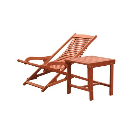 Malibu Collection V1802SET9 2-Piece Outdoor Patio Chaise Lounge Set with Chaise Lounge and Side Table in Natural Wood