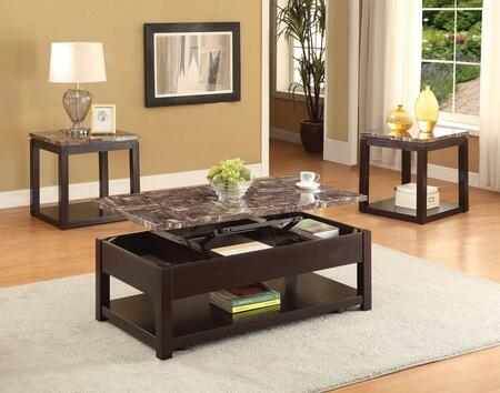 Dusty 82127CE 3 PC Living Room Table Set with Coffee Table + 2 End Tables in Espresso