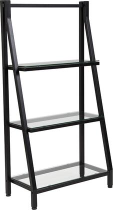Highland Collection NAN-JN21719-B-GG 23 inch  Bookshelf with 3 Clear Tempered Glass Shelves  Adjustable Floor Glides and Powder Coated Frame in Black