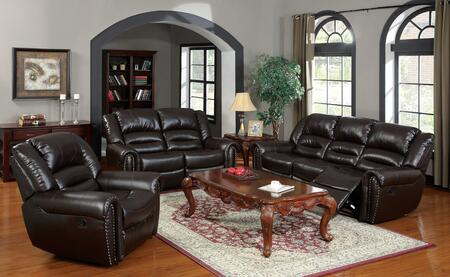 Ralph 50285SLR 3 PC Living Room Set with Sofa + Loveseat + Recliner in Brown