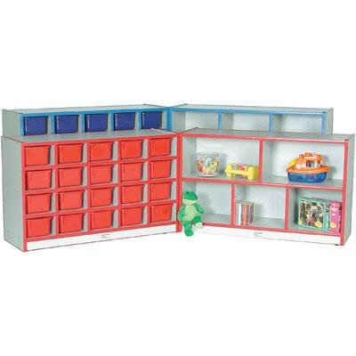 M708552DG-RD Preschool Storage Unit Hinged with 20-Tray Cubbie with Locking Hasp and Trays Maple Finish  Edge Color - Dustin Green  Tray Color -