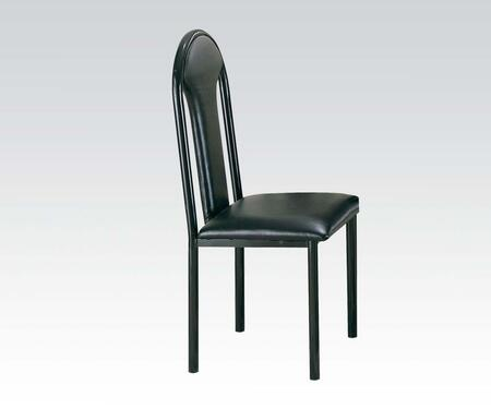 Uptown Collection 06822 Set of 4 Side Chairs with Foam Filled Cushion  Tubular Legs  Metal Frame and PU Leather Upholstery in Black