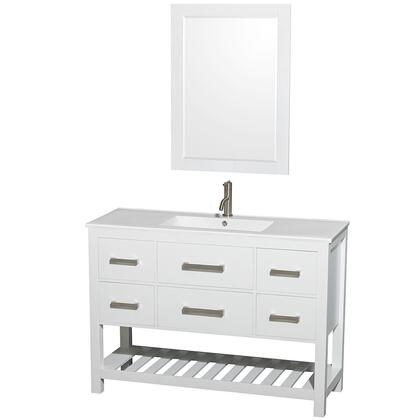Wcs211148swhwpintm24 48 In. Single Bathroom Vanity In White  White Porcelain Countertop  Integrated Sink  And 24 In.