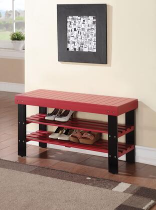 Ramzi Collection 98164 35 inch  Bench with 2 Shelves Shoe Rack  Wooden Seat  Pine and Plywood Construction in Red