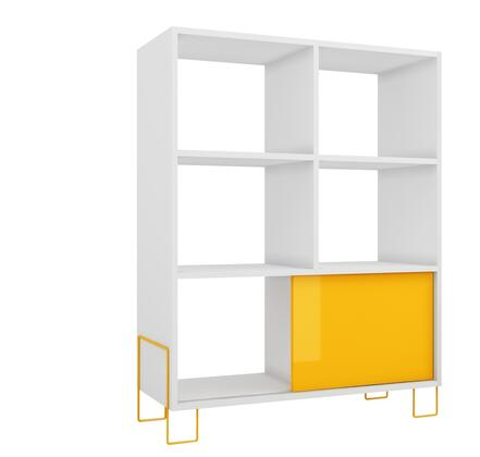Boden Collection 8AMC128 32 inch  Mid-High Side Stand with Open Shelves  Modern Feet Design and Sliding Door in White and