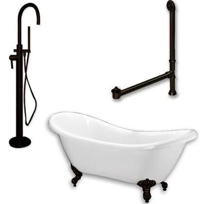 ADES-150-PKG-ORB-NH Acrylic Double Ended Clawfoot Bathtub 68 inch  x 30 inch  with no Faucet Drillings and Complete Oil Rubbed Bronze Plumbing