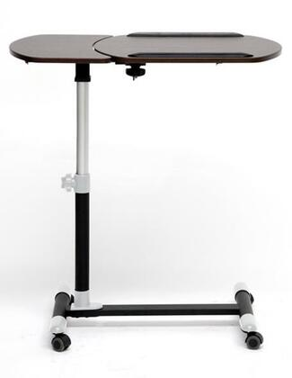 Baxton Studio AA-10T-3-Wenge/Black Olsen Wheeled Laptop Tray Table with Tilt Control  Powder-Coated Steel Frame and Plastic Caster
