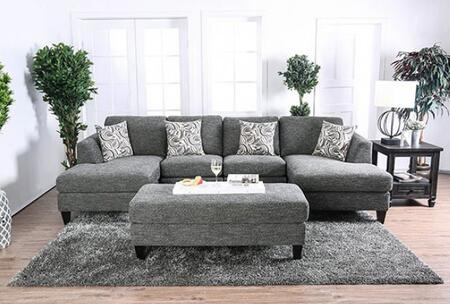 Lowry CM6363-SETOTET 3-Piece Living Room Set with Sectional Sofa  Ottoman and End Table in