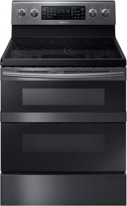 "NE59M6850SG 30"" Freestanding Electric Range with 5.9 cu. ft. Total Capacity  FlexDuo  Dual Oven Doors  5 Elements  and Storage Drawer  in Black Stainless"