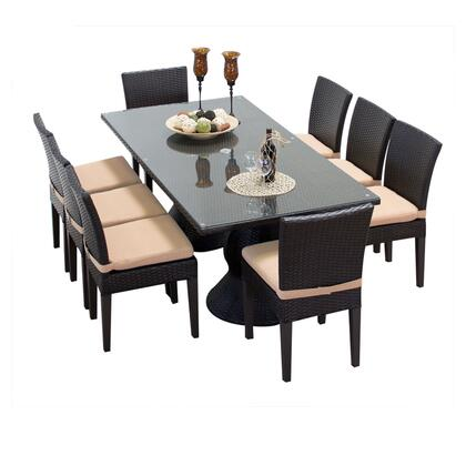 Napa-rectangle-kit-8c Napa Rectangular Outdoor Patio Dining Table With 8 Armless Chairs With 1 Cover In