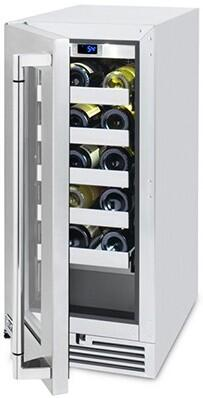 "L15WINE 15"" Wine Cellar with 20 Bottle Capacity  UL Listed for Outdoor Use  Digital Temperature Control and UV Coated Glass Door with Stainless Steel Trim:"
