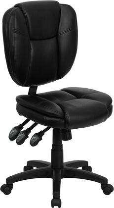 GO-930F-BK-LEA-GG Mid-Back Black Leather Multi-Functional Ergonomic Task